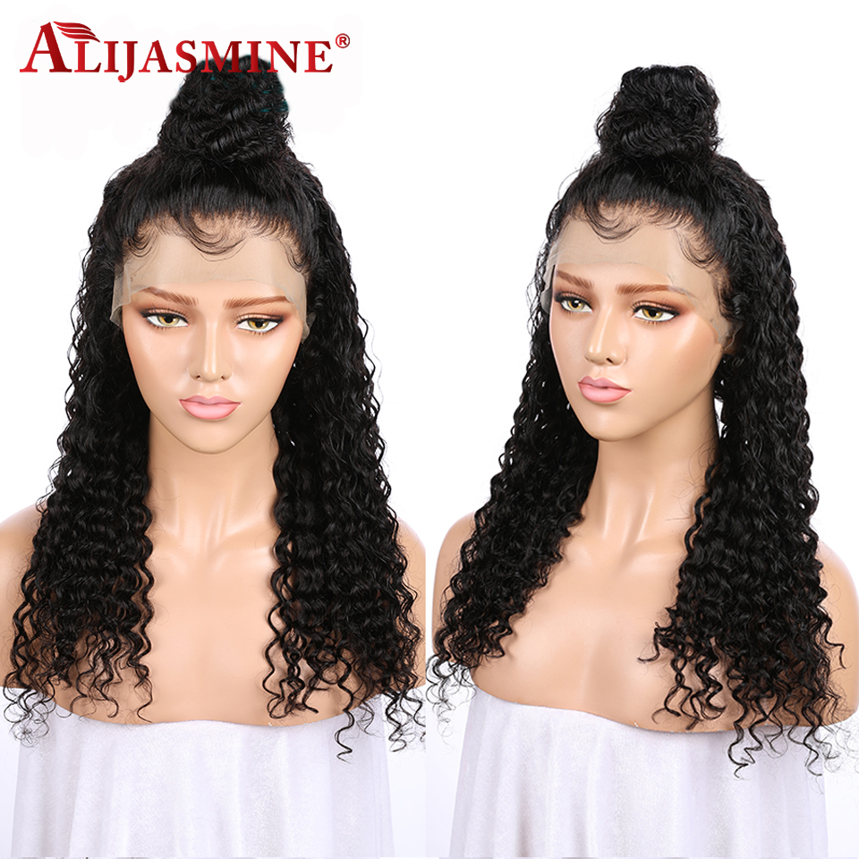AliJasmine Curly Lace Front Wigs Peruvian Human Hair Wigs For Black Women With Baby Hair Remy Hair Natural Black Color-in Human Hair Lace Wigs from Hair Extensions & Wigs    3