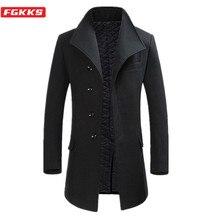 FGKKS Winter New Wool Blend Coats Men Quality Brand Men's Fa