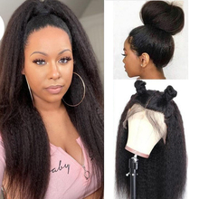 Wig Lace-Frontal Human-Hair 360 Peruvian for Black Women Pre-Plucked Remy Kinky Straight