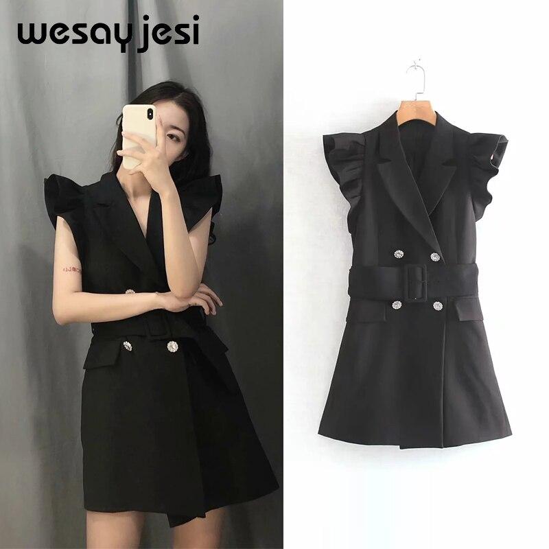 2019 Summer Spring Dress Women Vestidos England Style Sleeveless Solid Button Mini Black Dress Vestidos De Fiesta Party Dress
