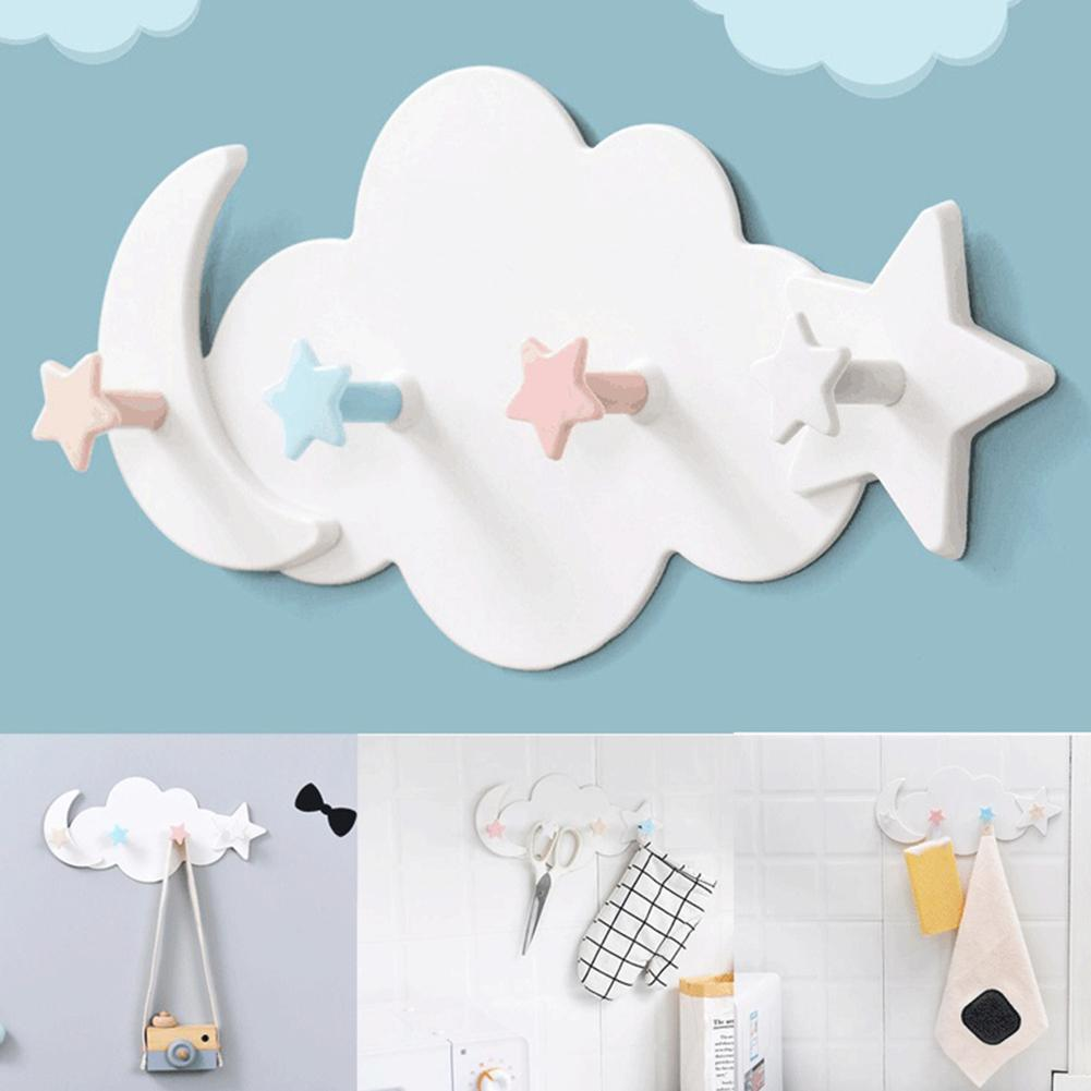 Cute Cloud Star Moon Wall Door Hook Bathroom Bedroom Hanger Holder Home Wall Decorative Hooks Clothes Key Hanger