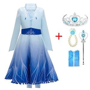 2020 New Girls Elsa Dress Set Princess Anna Elza Cosplay Costume Birthday Party Princess Dress For Kids Vestidos(China)