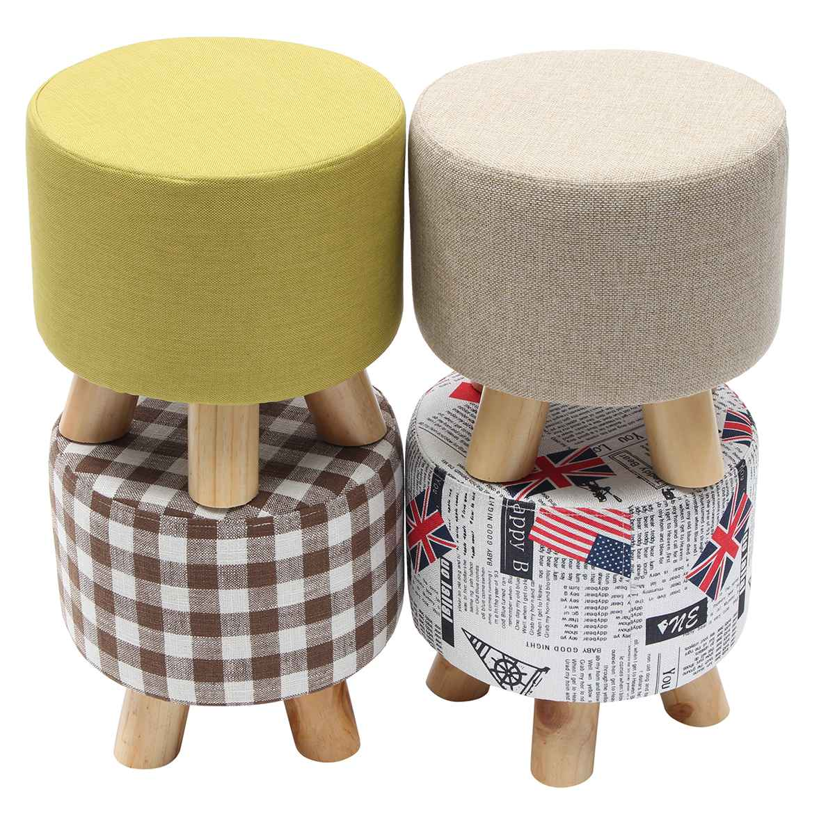 Round Modern Solid Pine Wooden Footstool Ottomans Nordic Pouffe Stool Upholstered Fabric Foot Rest Padded Seat Living Room Decor