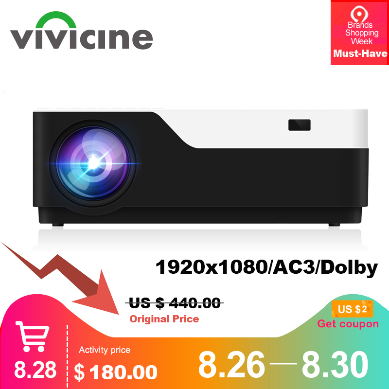 Vivicine M18 1920X1080 Real Full HD Projector, HDMI USB PC 1080p LED Home Multimedia Video Game Projector Proyector Support AC3 Гриль