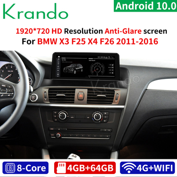 Krando Android 10.0 10.25'' 4G 64G Car Radio Multimedia GPS For BMW X3 F25 / X4 F26 2011-2016 NBT CIC Audio Player Navi WIFI image
