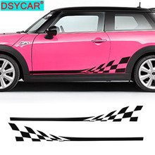 DSYCAR 1Pair Car Side Skirt Decal Sill Door Side Stickers Vinyl Door Side Stickers for Mini Cooper R50 R52 R53 Multi Colors 2pcs set door rear view mirrors cover case sticker decal car styling for mini cooper one s r50 r52 r53 2002 2006 accessories