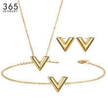 Collier en acier inoxydable pour femmes et filles, collier Simple avec lettre V, or/acier/or Rose, pendentif Alphabet, collier de fête