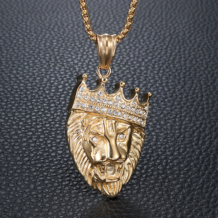 Hip Hop Stainless Steel Crown Lion Head Necklace Pendant & Chain Male Gold Color Iced Out CZ Bling Animal Jewlery Dropshipping metalowe skrzydła dekoracyjne na ścianę