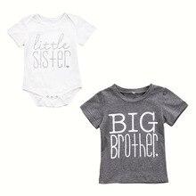 Милая Футболка серого цвета для маленьких мальчиков и девочек Футболка с принтом «Big Brother» хлопковое боди с короткими рукавами и надписью «Little Sister», летние топы