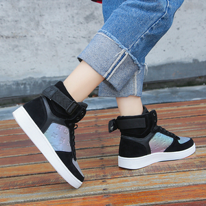 Image 5 - Genuine Leather High Top Women Sneakers Fashion Skate Shoes Lace Up Patchwork Women Casual Shoes Superstars XU135