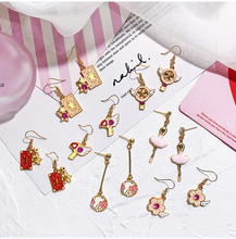 Japanese and south Korean instagram girls earrings cute oil drop long style cartoon