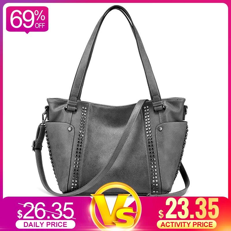 REALER Women Handbags Female Artificial Leather Totes Ladies Shoulder Crossbody Bag Large Messenger Top-handle Bag Rivets Bucket