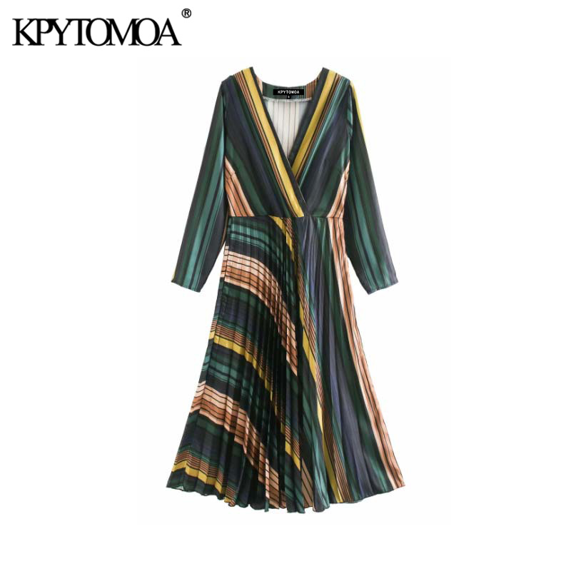 Vintage Elegant Color Striped Pleated Midi Dress Women 2020 Fashion V Neck Long Sleeve Side Zipper Female Dresses Vestidos Mujer