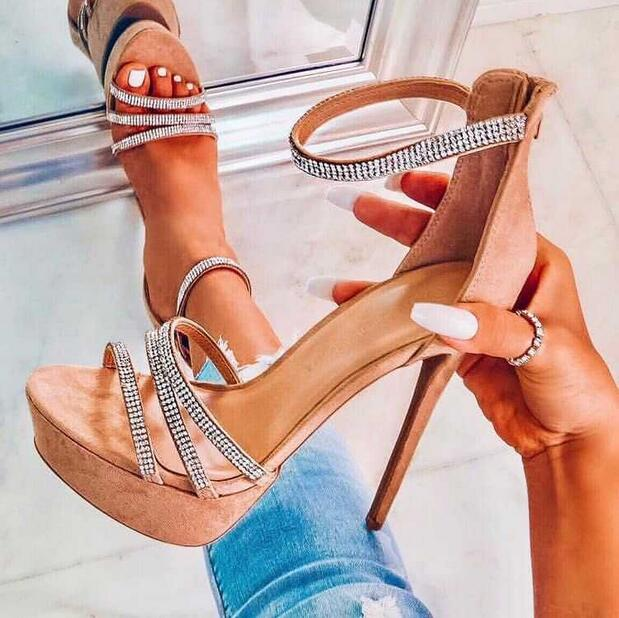 Trendy Zipper Stiletto Heels Women Sandals Bling Crystal Embellished Ankle Strap High Platform Gladiator Sandals Dress Shoes - 3
