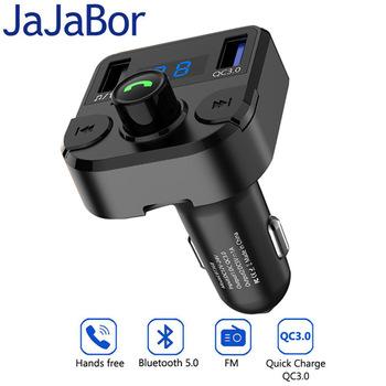 JaJaBor bezprzewodowy nadajnik Modulator FM zestaw samochodowy Bluetooth 5 0 zestaw głośnomówiący samochodowy odtwarzacz MP3 Dual USB QC3 0 szybka ładowarka samochodowa tanie i dobre opinie 87 5-108MHz Dual USB car charger MP3 WMA WAV FLAC QC3 0+1A Support A2DP music playing Noise cancellation Battery voltage detection