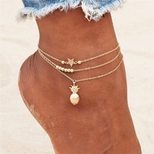 NEW Ankle Chain Pineapple Pendant Anklet Beaded 2018 Summer Beach Foot Jewelry Fashion Style Anklets for Women