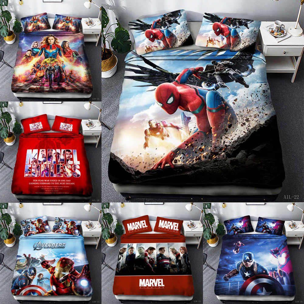 Marvel's The Avengers 4-piece set 3-piece Quilt Set wish fitted sheet 3D digital printing Bedding