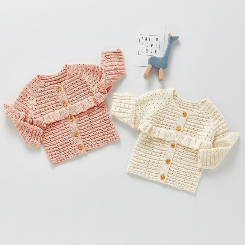 2021 Spring New Baby Boys Girls Sweaters Kids Girls Solid Ruffle Sweater Knit Cardigan Boys Children Knitted Sweaters