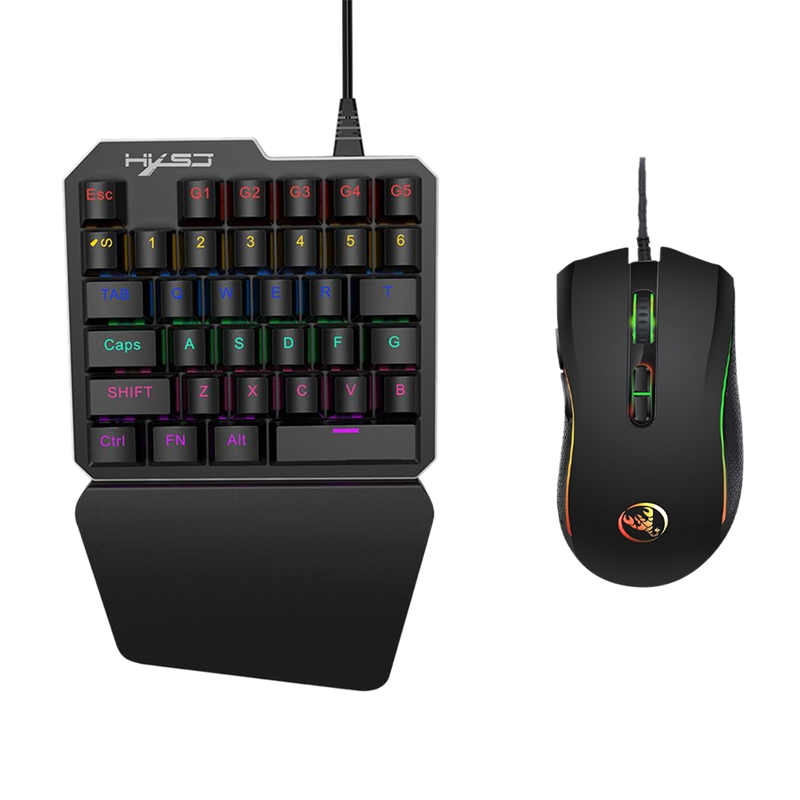 J100+A869 Keyboard Mouse Set 35 Keys Mini Usb Wired 3200Dpi 7 Buttons Led Optical Gaming Combos For Desktop Pc La