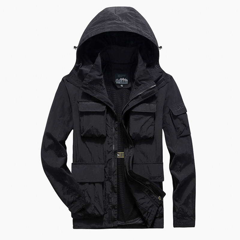 Men's Casual Jackets Spring Autumn Outerwear Windbreaker Man Hooded Coat Multi-pocket Males Climbing Clothes Plus Size 6XL 7XL