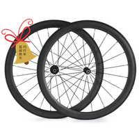 Il trasporto libero ruote in carbonio della strada della graffatrice tubolare 50 millimetri rotelle della bici del carbonio wheelset 700c bici della strada del carbonio ruote 23 millimetri 25 millimetri di larghezza