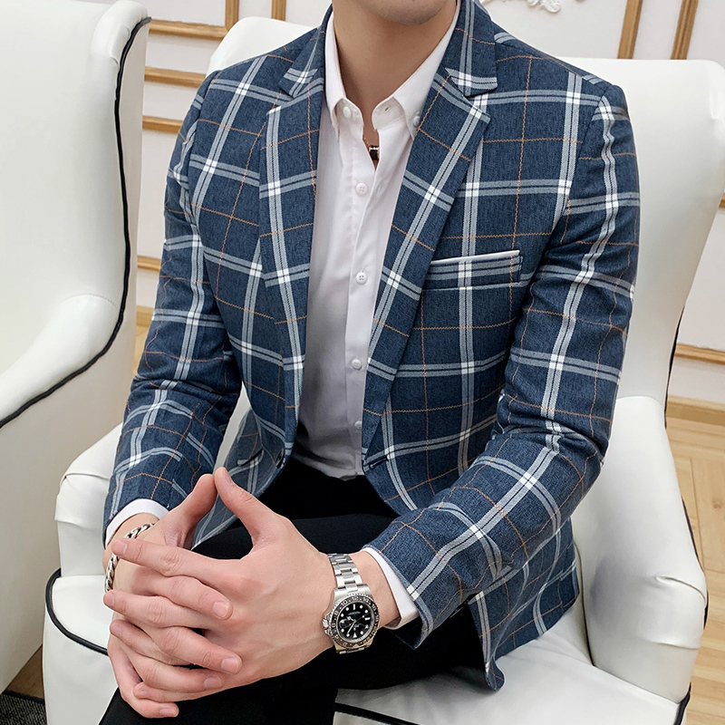 Striped Plaid Blazer Business Casual Men's Slim Suit Jacket Wedding Banquet Suit Jacket Men's Single Button Suit Men's Jacket