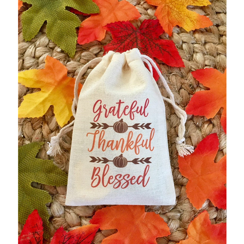 Thanksgiving Favor Bag Personalised Grateful, Thankful, Blessed Treat Bags Birthday Gift Bag Welcome Muslin Bag Hen Party Bags