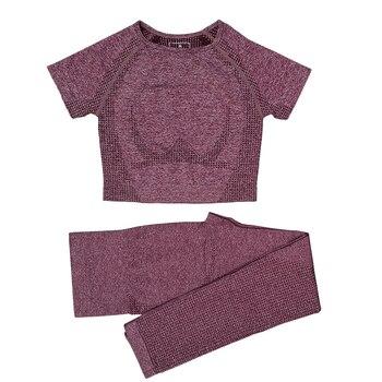 Seamless Women Vital Yoga Set Workout Shirts Sport Pants Bra Gym Clothing Short Crop Top High Waist Running Leggings Sports Set 11