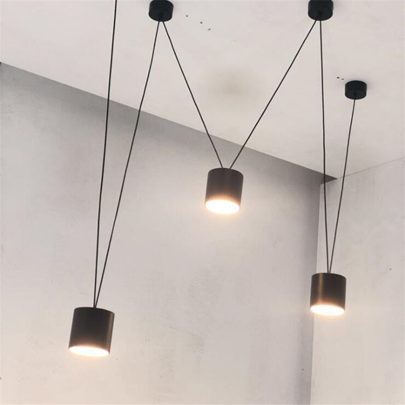 Vintage Loft Vibia Metal Led Pendant Light Foyer Bar Dining Room Modern Black/White Geometric Line Drop Lamp 2608