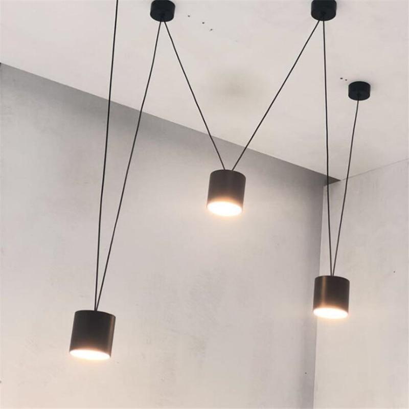 Vintage Loft Vibia Metal Led Pendant Light Foyer Bar Dining Room Modern Black/White Geometric Line Drop Lamp 2608