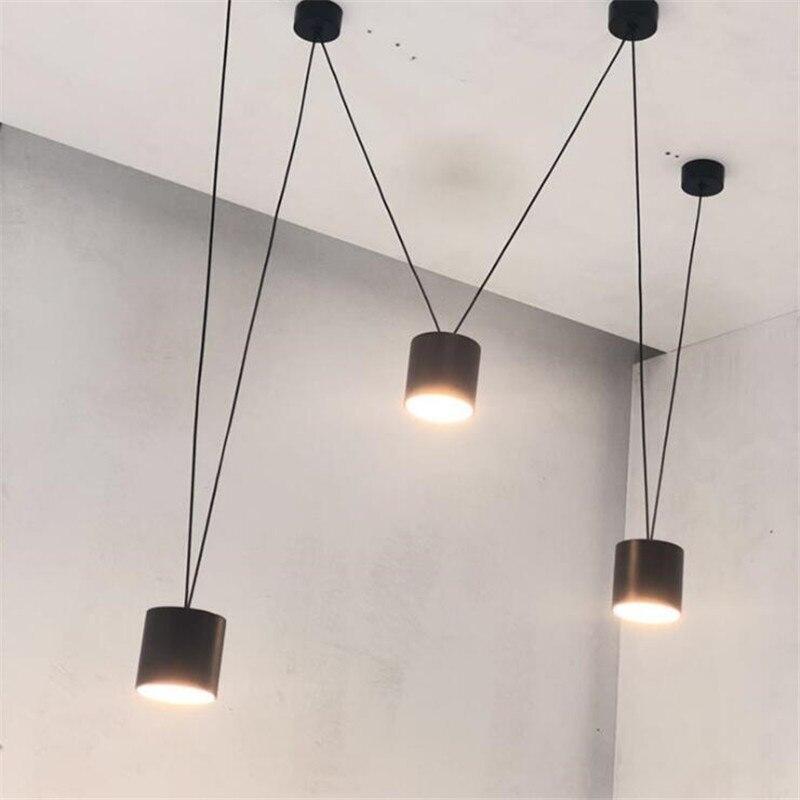 Vintage Loft Vibia Metal wisiorek Led światła Foyer Bar jadalnia nowoczesny czarny/biały linia geometryczna spadek lampy 2608