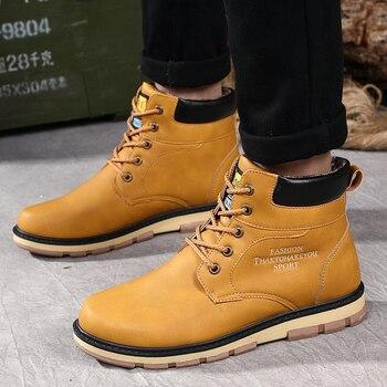 Fashion Designer Shoes Men Leather Flats Shoes High Top Lace Up Men's Shoes Comfortable Sneakers Man Keep Warm Zapatillas Hombre