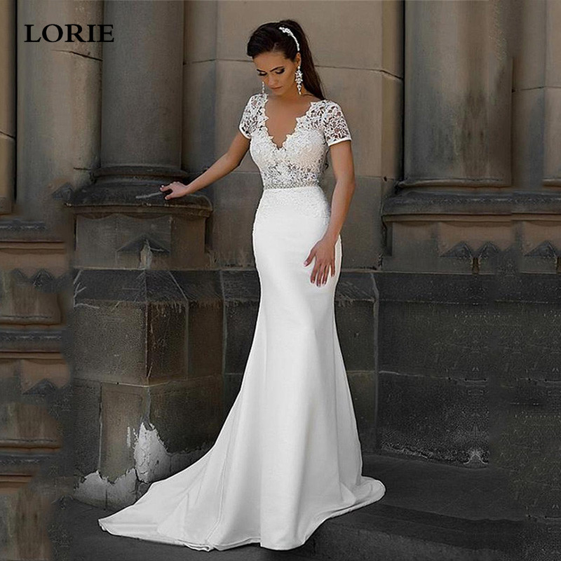 LORIE Beach Satin Wedding Dress V Neck Cap Sleeve Vestidos De Novia Vintage Lace Train Bride Dress Backless Wedding Gowns