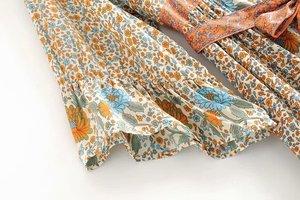 Image 4 - Robe Maxi, style bohème, imprimé Floral, Vintage, chic, imprimé Floral, boutonnage simple, col en V, ceinture, robe de plage, style Boho, été