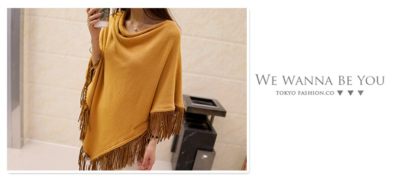 Women Spring Autumn Knitted Sweater Poncho Coat 17