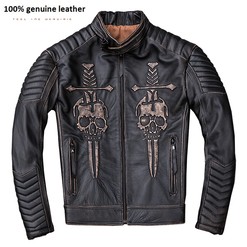 Vintage Distressed Motorcycle Jacket Men Skull 100% Calf Skin Slim Fit Leather Jacket Man Moto Biker Coat Winter M203