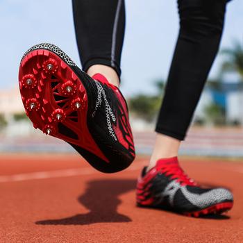 Buty męskie kolce buty do biegania buty do biegania buty do biegania na świeżym powietrzu sportowe kolce trampki męskie buty sportowe wyścigi szkolenie zawodowe tanie i dobre opinie ZHENZU Podłoga PCV Profesjonalne oddychająca Średnia (B M) RUBBER ELASTYCZNE Sznurowane Spring2019 Zoom Dobrze pasuje do rozmiaru wybierz swój normalny rozmiar