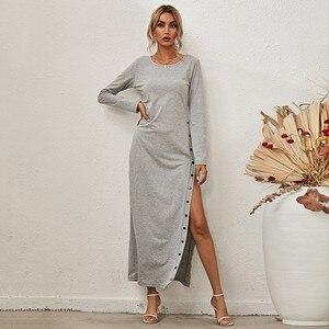 Long Dress Women Split Long Sleeve Casual Loose Female Dress Button Skirt Solid Color Long Sleeve O-Neck Dress Lady Vestidos