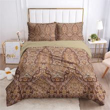 3D Bedding Sets Brown Duvet Covers Quilt Cover Set Comforter Case Pillow Sham Bed Linens King Queen Full Single Paisley Design(China)