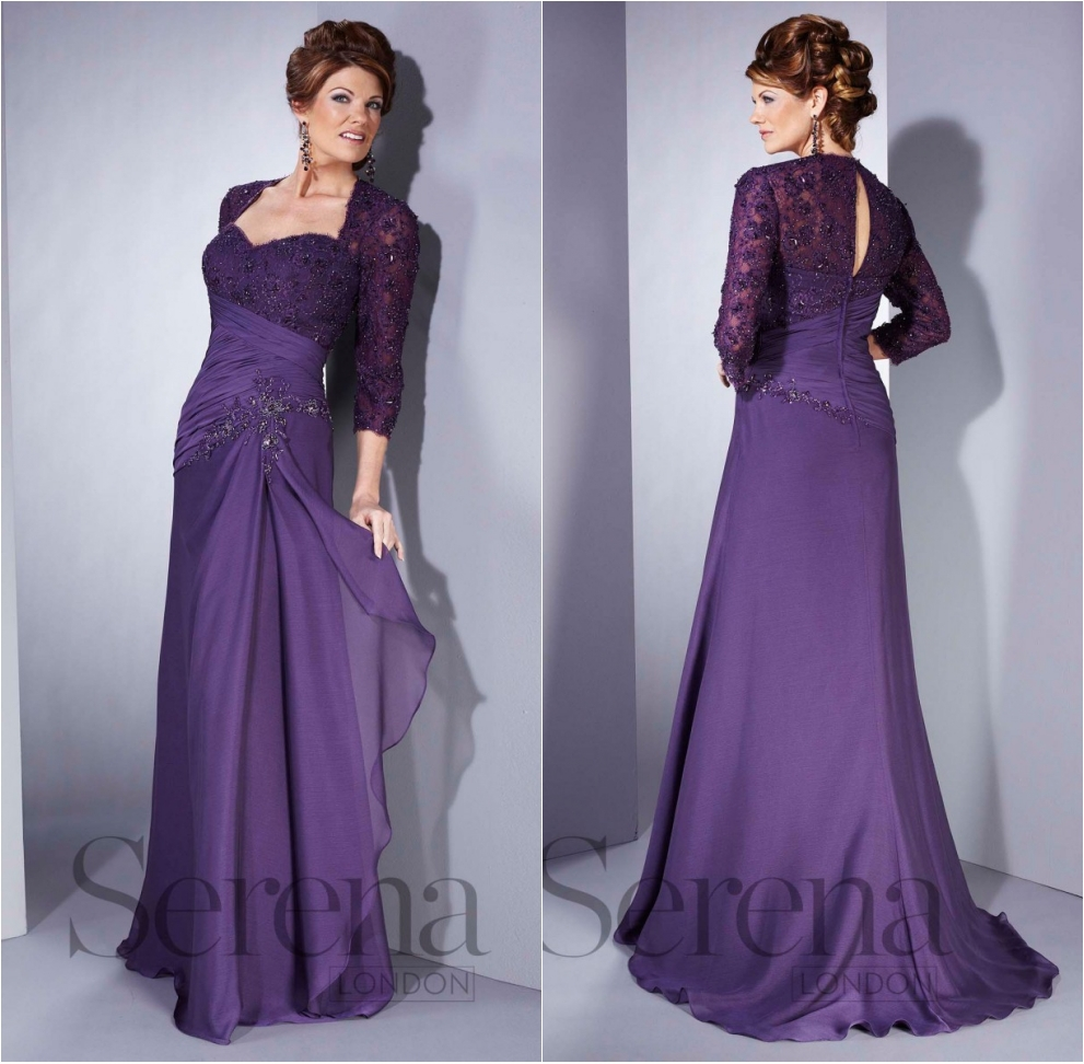 Plus Size Sweetheart Three Quarter Sleeves Long Mother Of The Bride Dresses Purple Chiffon With Applique Beaded A-line Mum Dress
