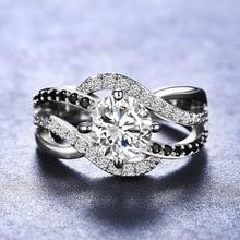 NPKDS стерлингового серебра 925 пробы черный Циркон кольцо акцент черный и белый волновой обмотки кольца для свадьба ювелирные изделия аксессуары
