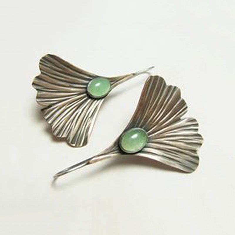 Romantic Retro Ginkgo Biloba Drop Earrings free-form shape Long Chain Boho Earrings for Women Handmade Jewelry Brincos Z4D287