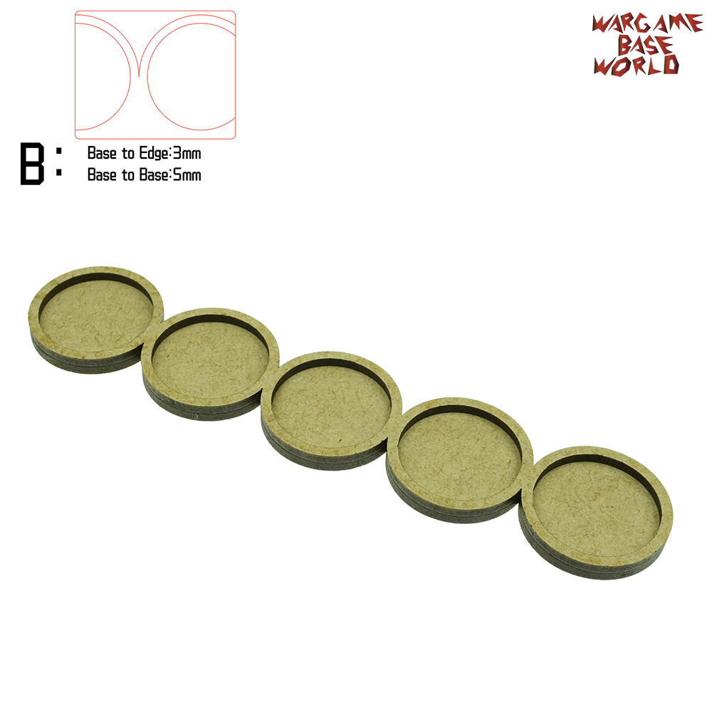 Wargame <font><b>Base</b></font> World - Movement Tray - 5 <font><b>bases</b></font> <font><b>32mm</b></font> <font><b>round</b></font> - line Shape MDF image