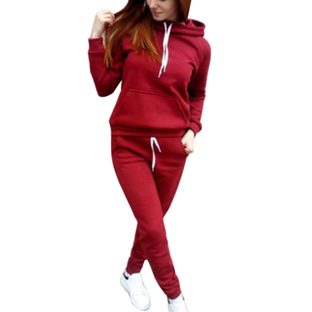 2019 Autumn New Women Hoodie Pant Clothing Set Warm Newest Clothes Ladies Solid Tracksuit Women Set Top Pants Suit Female