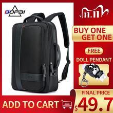 Bopai mochila homem ampliar usb carga externa portátil mochila 15.6 Polegada grande capacidade anti roubo mochila de viagem para adolescente