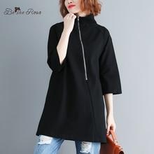 BelineRosa Simple Black Clothes for Women Zipper High Collar Half Sleeve Autumn Pullovers  JYYC0014