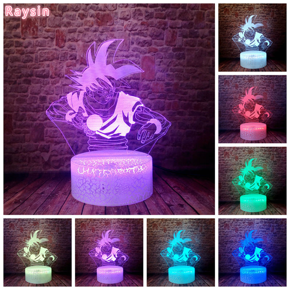 <font><b>Dragon</b></font> <font><b>Ball</b></font> Z God Goku Super Saiyan Mathilde Action Figures 3D Illusion Table <font><b>Lamp</b></font> 7 Color Night Light Boys Child Kids Toy Gifts image