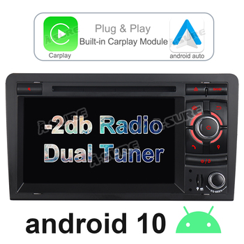 A-Sure Car Radio Android 10 Dual FM Tuner 32GB ROM Built-in CarPlay DAB+ WIIF 4G GPS DVD Navigation For Audi A3 S3 RS 8V 8P 8PA image