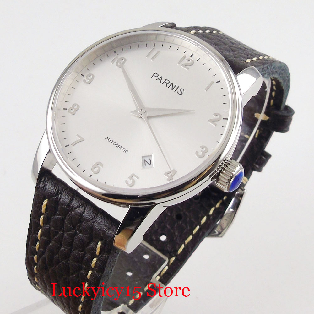 PARNIS High Quality Simple 38mm Men Wristwatch Date Function Polished Case MIYOTA Movement image