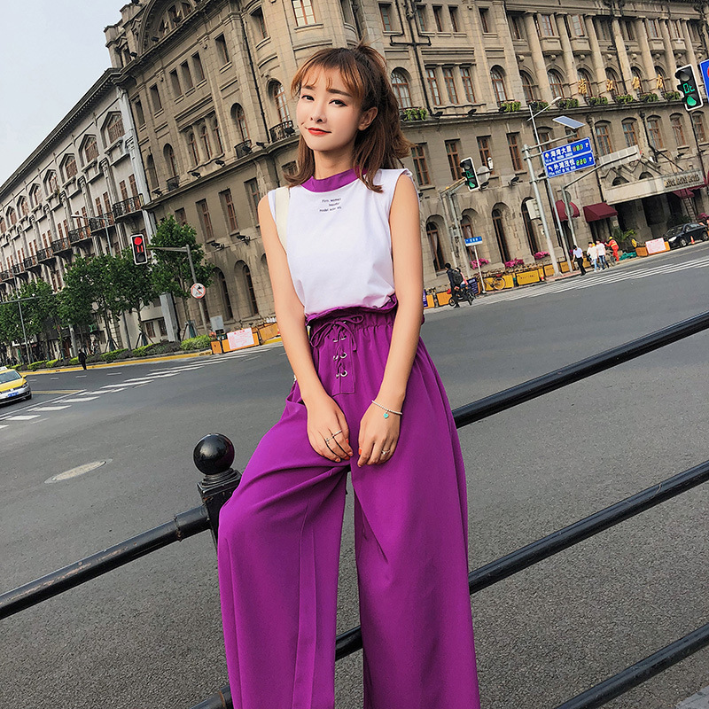 [Dowisi] 2018 Summer Korean-style New Style Sleeveless Printed T-shirt High-waisted Loose Pants Two-Piece Set F6621